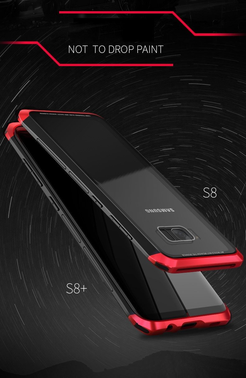 Luphie Samsung S8 S8 Plus Metal Bumper Case With Tempered Glass Back