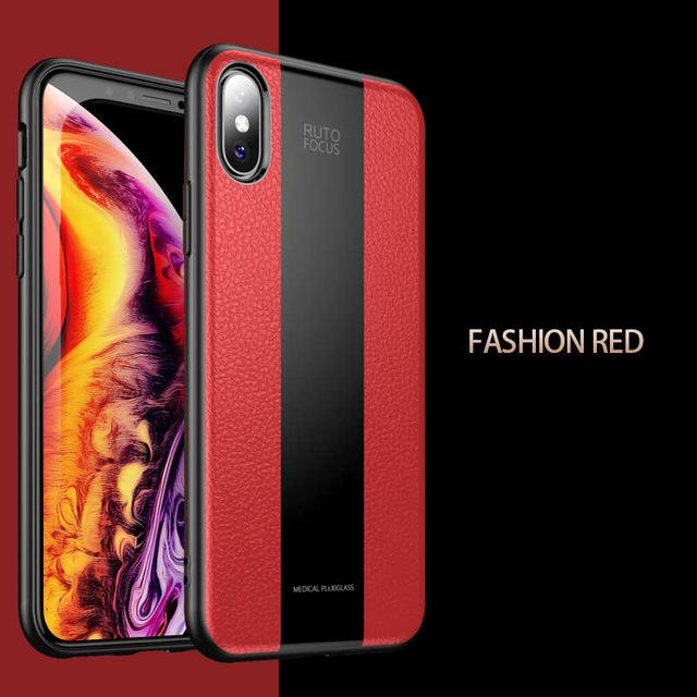 Luxury Leather+Glass Phone Case For iPhone Shockproof Full Cover For iPhone X/XS/XS Max/XR/6/7/8/6S/6+/7+/8+/6S+