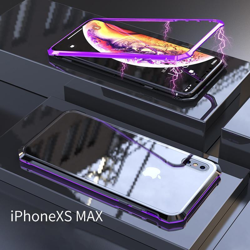 Third Generation Magnetic Adsorption Transparent Tempered Glass  Cover Phone Case For iPhone X XS MAX XR 7 8 Plus