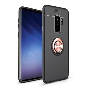 Fashion Ultra-Thin Car Holder Stand Magnetic Bracket Finger Ring TPU Case For Samsung S9 S9 Plus