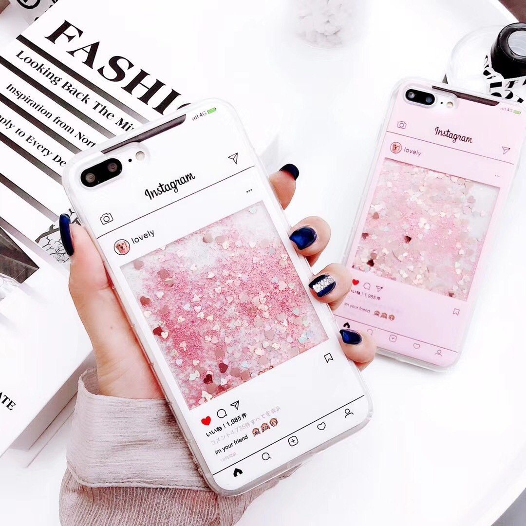 Glitter Quicksand Liquid Soft Silicone Gel Anti Slip Shock-Absorption Full Protective Bumper Case for iPhone