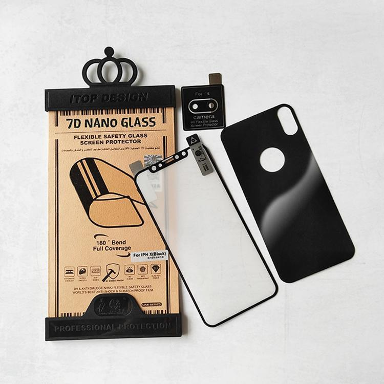 7D 3 in 1 Nano Full Screen Flexible Glass Anti Shock Screen Protector For iPhone 7 8 plus 6 6S  XS XR Samsung S7 A8 Plus Soft Explosion proof Anti shock Protective Film Camera Film Set