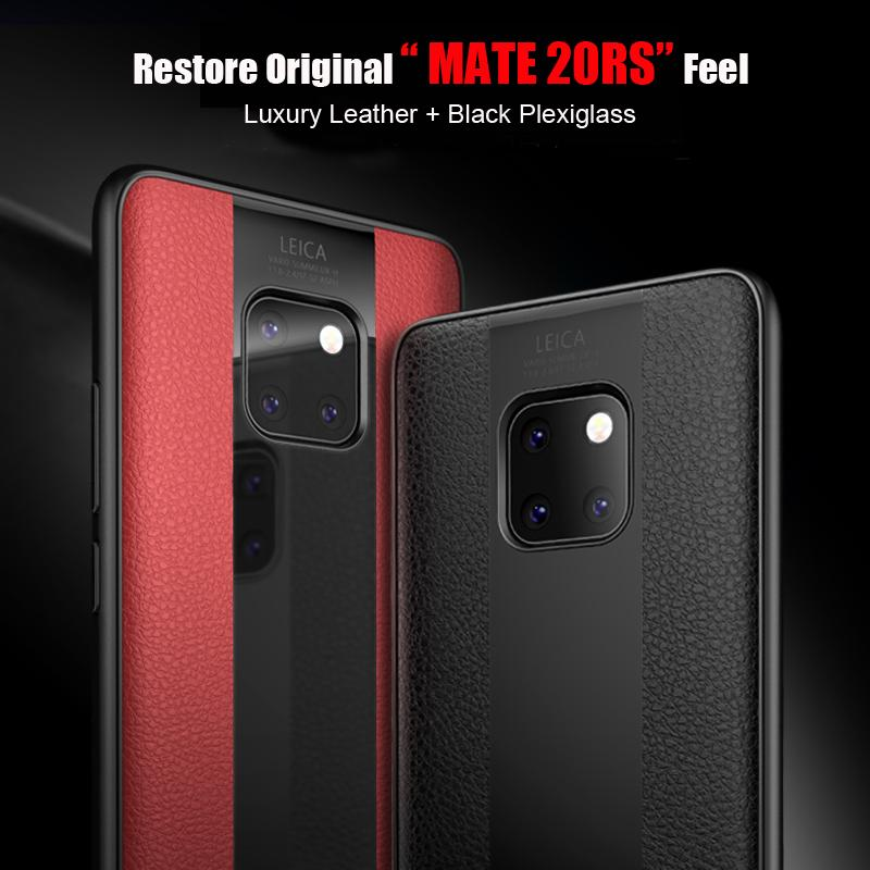 Luxury Leather+Glass Phone Case For Huawei Shockproof Full Cover For HUAWEI Mate20/20Pro/20X/10/10Pro/9/9Pro Vintage Silicone Case