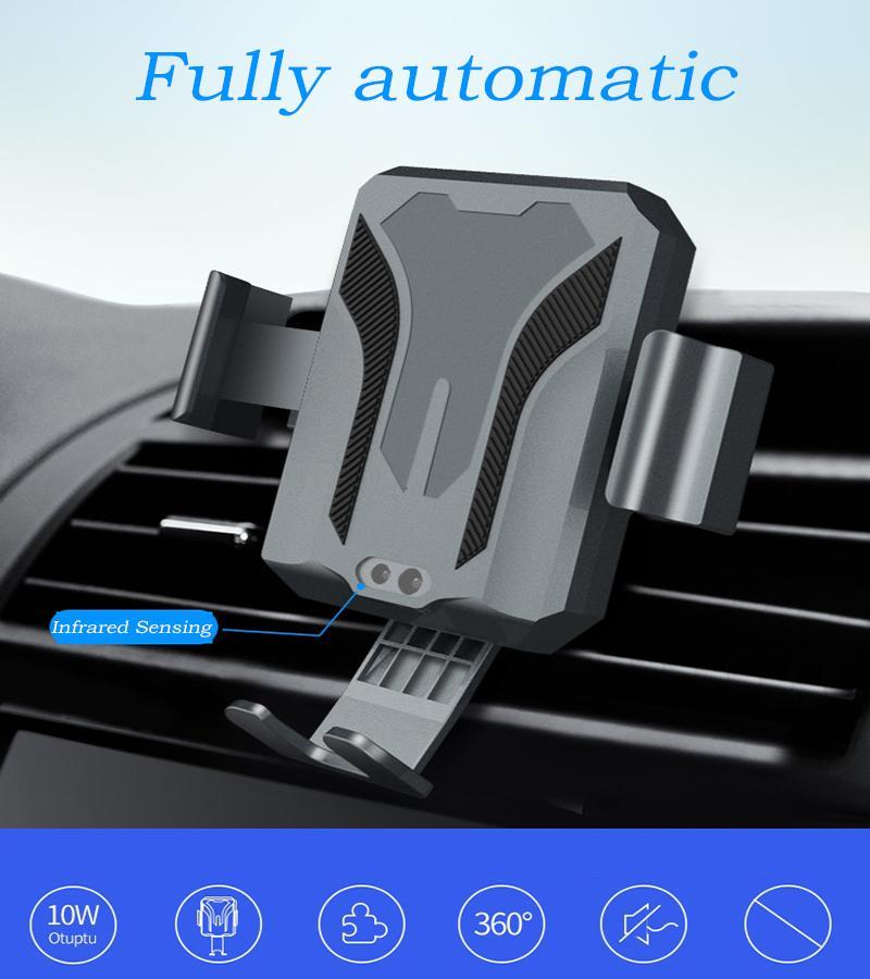 Car Air Vent Wireless Charging Mount Stand with Infrared Sensing Automatic  Arms Compatible iPhone XS/XS Max/XR/X/8/8 Plus, Android 7 5W/Apple 10W Fast