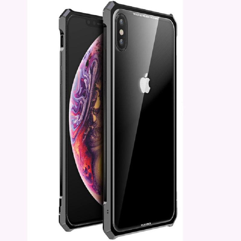 Luxury metal frame cover clear Hard back Glass Aluminum Metal case for iPhonexs X/XS/XR/XS MAX/7/8 7