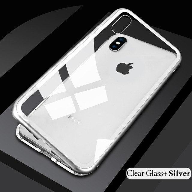 METAL MAGNETIC FRAME FULL COVER Glass Protective Case With FREE Glass Screen Protector For iPhone XS Xs Max XR X/8/8Plus/7/7Plus/6/6s/6Plus/6sPlus