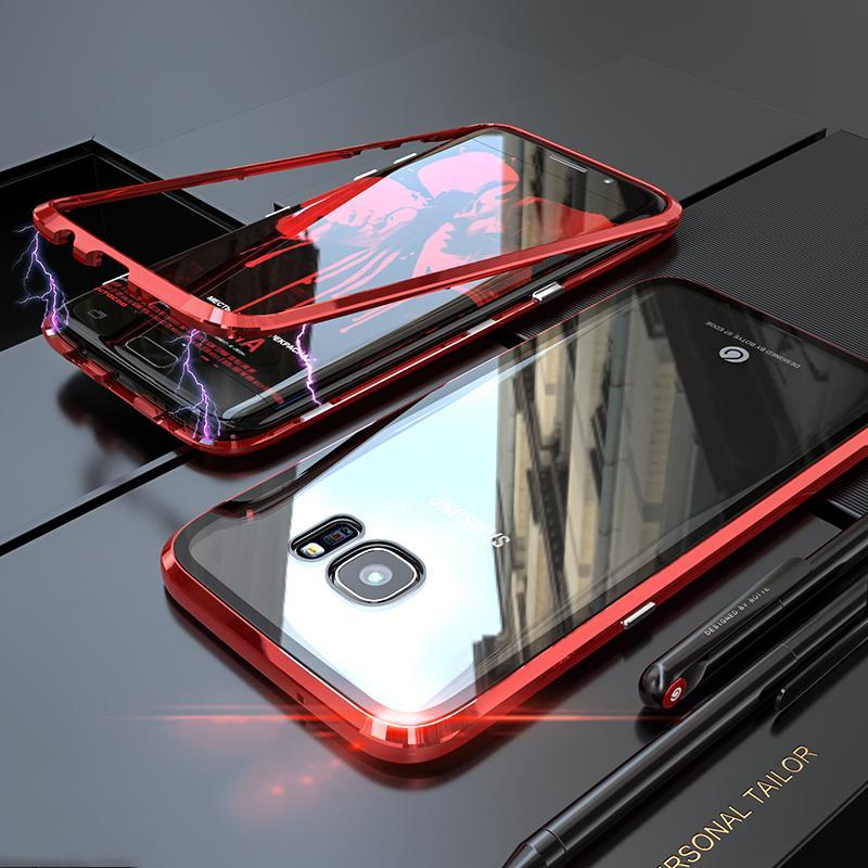 Magnetic Adsorption Transparent Tempered Glass Phone Case For Coque SamSung S7edge