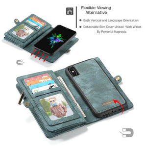 CaseMe For iPhone Wallet Case Premium Zipper Leather Purse with Detachable Flip Magnetic Cover 11 Credit Card Slots