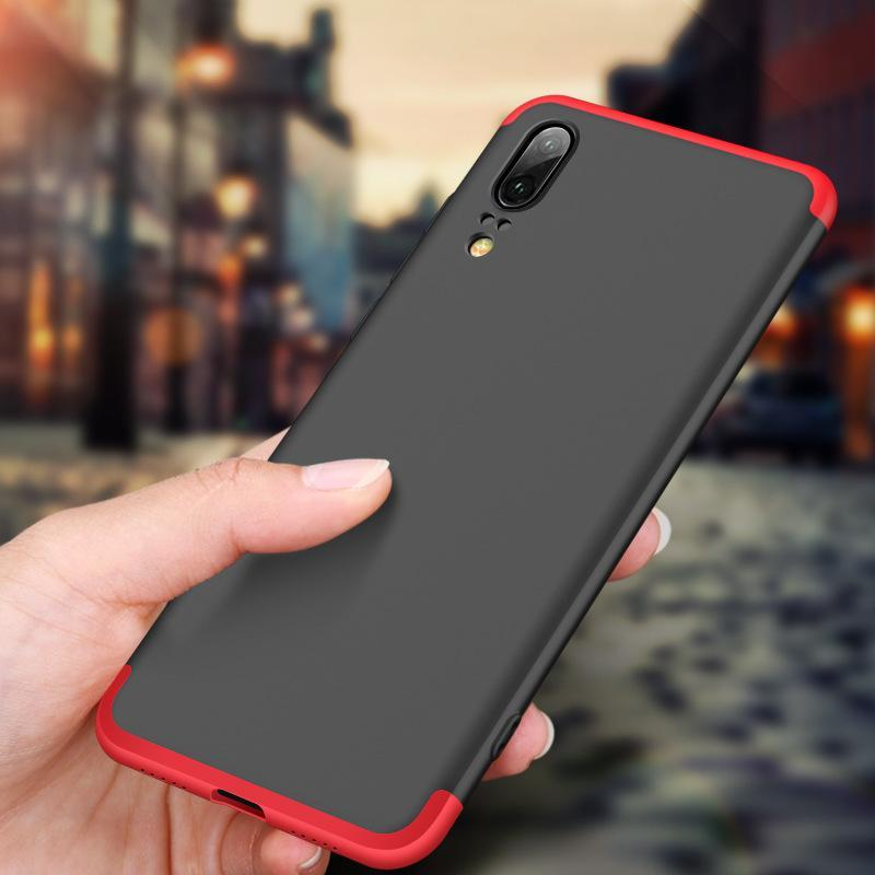 3 in 1 Double Dip 360° Degree Full Protection Hard PC Matte Coque Cover With Tempered Glass Film for HUAWEI P20