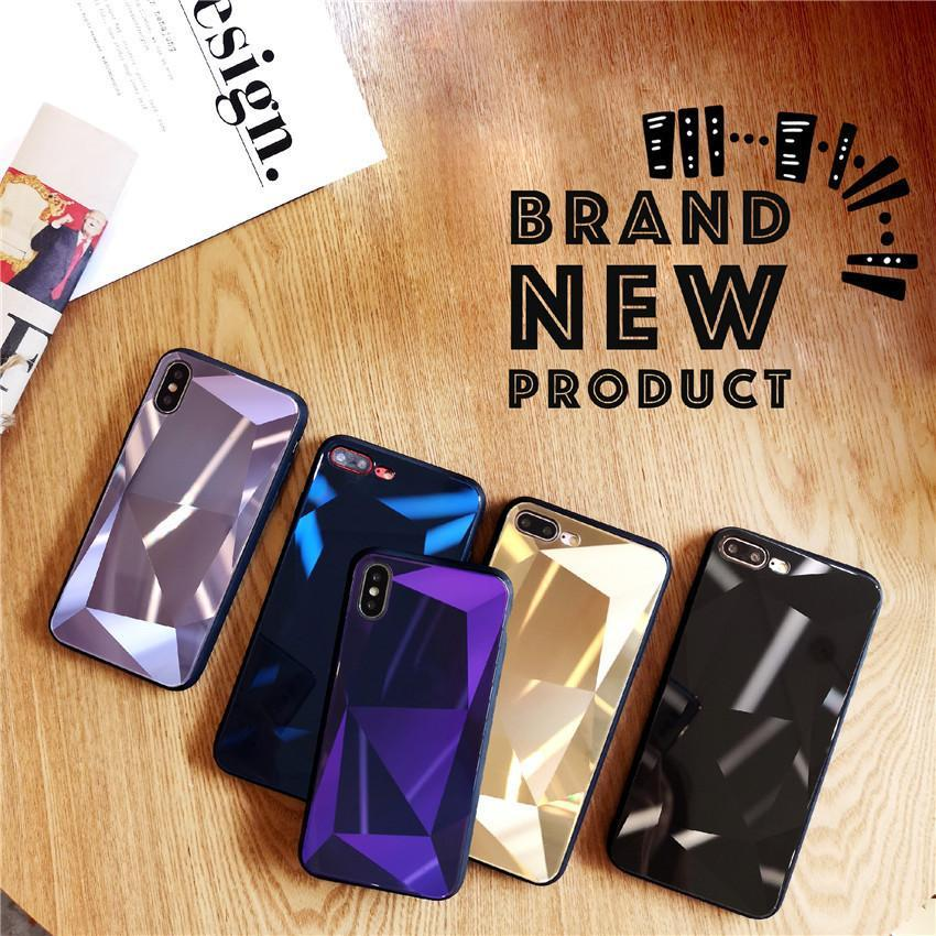 3D Diamond Reflective Glass Laser iPhone X Mobile Phone Shell Creative iPhone7/8 Plus Drop Protection Sleeve