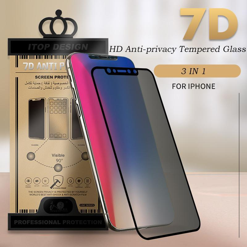 3 in 1 Anti-privacy Protection Tempered Glass+PET Back Film+Lens Post for iPhone Anti-privacy Tempered Glass Privacy Protection Film for iiPhone X/XS/XS Max/XR/8/7/6/6s Screen Protective
