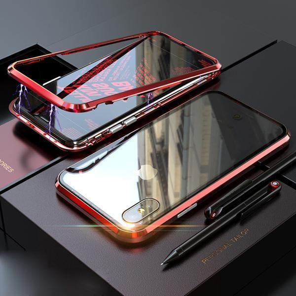 METAL MAGNETIC FRAME Glass Protective Case With FREE Glass Screen Protector For iPhone XS XS Max XR X/8/8Plus/7/7Plus/6/6s/6Plus/6sPlus