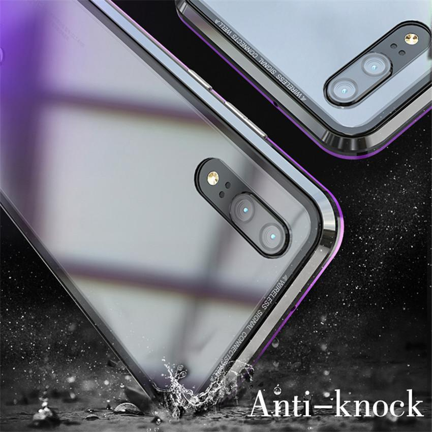 new concept 43017 d5a28 Magnetic Adsorption Metal Phone Case For huawei p20 pro Luxury Ultra Magnet  Tempered Glass 360 Full Cover For huawei P20pro P20-PASK24486081-