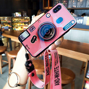 NEW Camera Bluray Phone Case with Phone Holder for iPhone and Huawei with Adjustable Crossbody Lanyard Soft Cover Fashion Coques