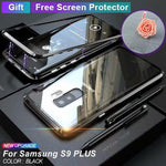 ANTI-KNOCK METAL MAGNETIC FRAME With Free Screen Protector 9H TRANSPARENT Glass Protective Case For SAMSUNG S9/S9 PLUS