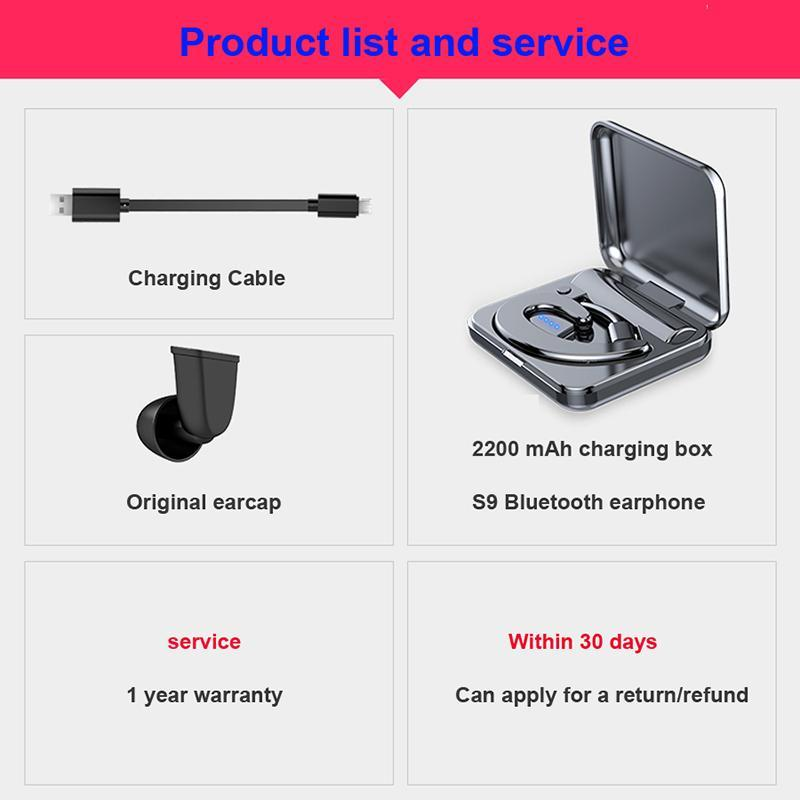 Newest Air Bluetooth Wireless Earphone Headphone Sport Bluetooth Headset With Mic 2200 mAh Power Ban