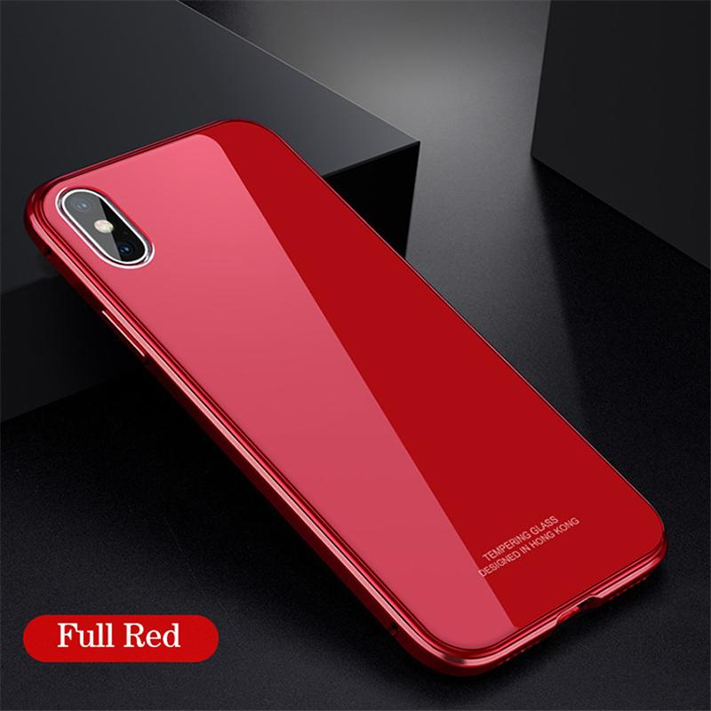 Mobile Phone Metal Frame Glass Case for iPhone X 8Plus 7Plus 8 8 7 6Plus 6S