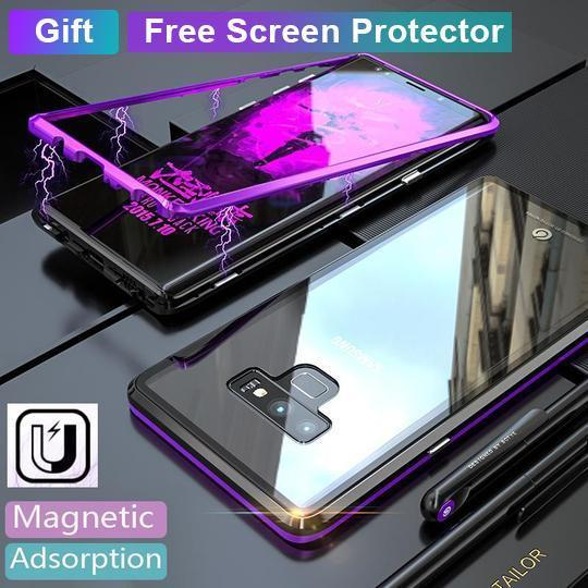 Magnetic adsorption transparent tempered glass phone case With Free Screen Protector For Coque samsung galaxy Note 9