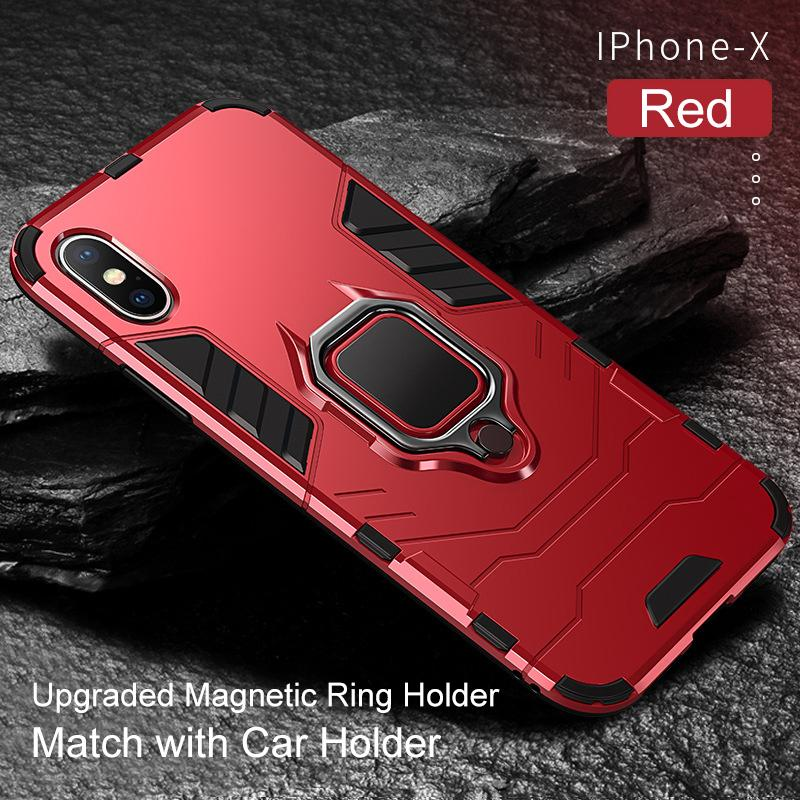 Shockproof Armor Stand Case For iPhone XS Max XR XS X with Holder Ring Cases Cover