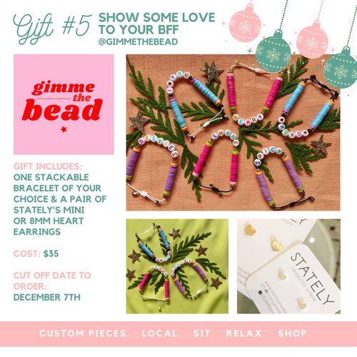 Gift #5 - Gimme The Bead Bracelet & STATELY Heart Studs
