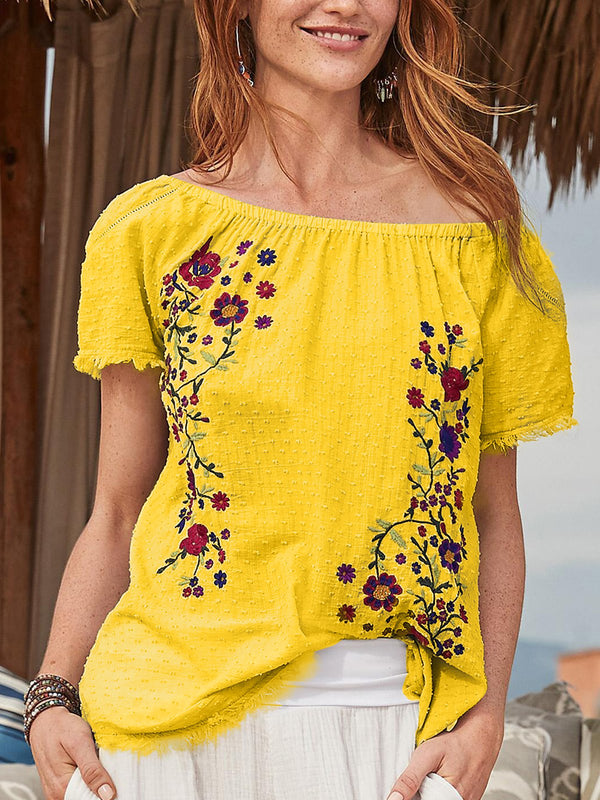 Women  Short Sleeve Print Casual Top