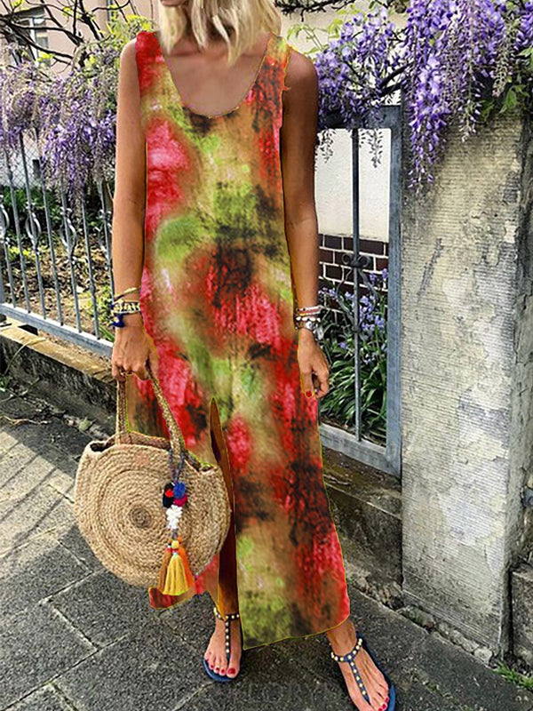 Women Fashion Tie Dyed Sleeveless Maxi Dress