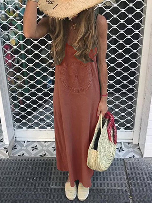Printed Solid Casual Round Neck Dresses