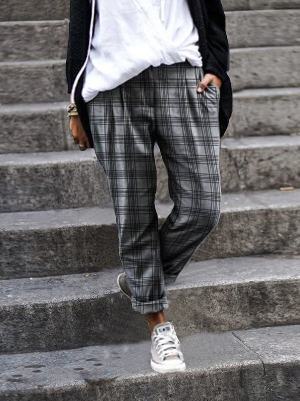 Plus Size Women Plaid Printed Casual Pants