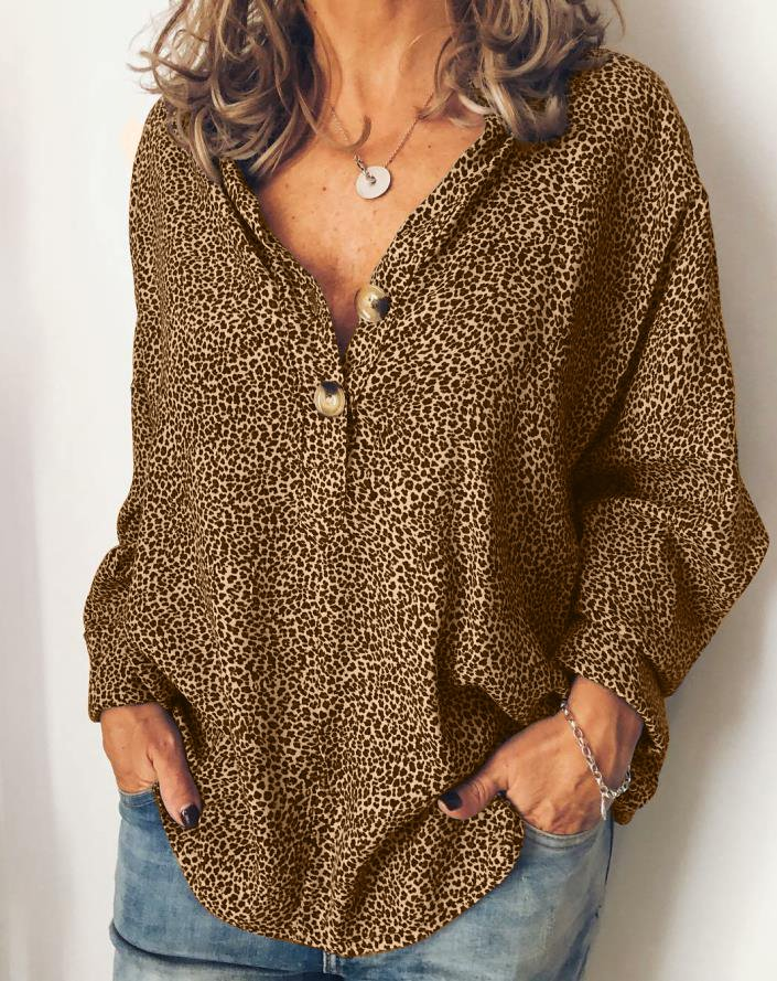 Long Sleeve Cotton-Blend V Neck Casual Tops