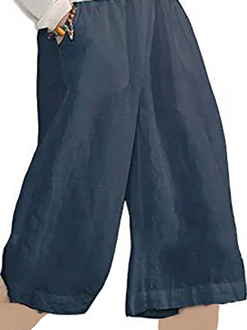 Casual Solid Pockets Pants Middle Short Pants