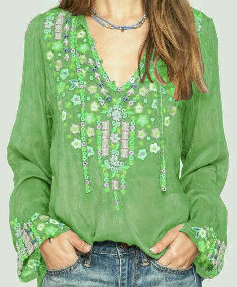 Long Sleeve Floral Cotton Shirts Blouses