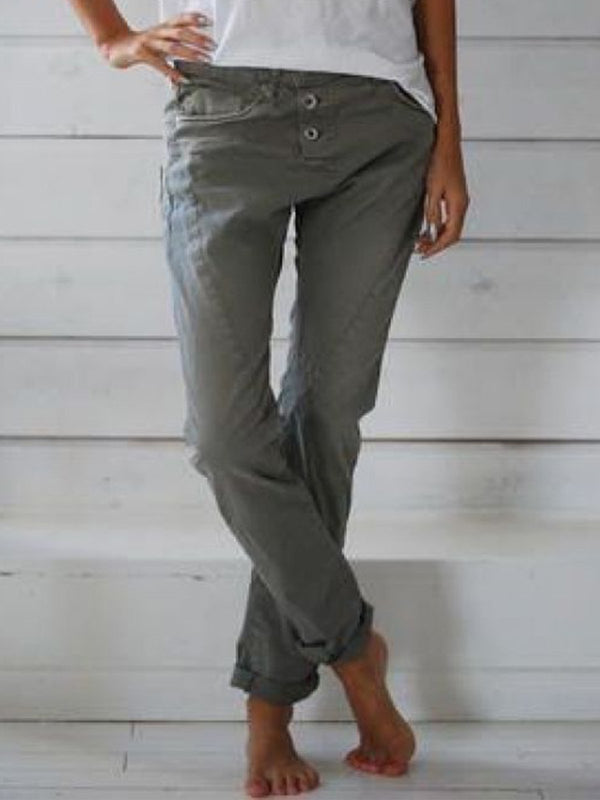 Women Cotton-Blend Pockets Pants