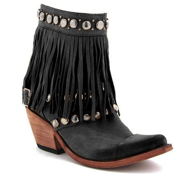 Brown Low Heel Tassel Pu Boots