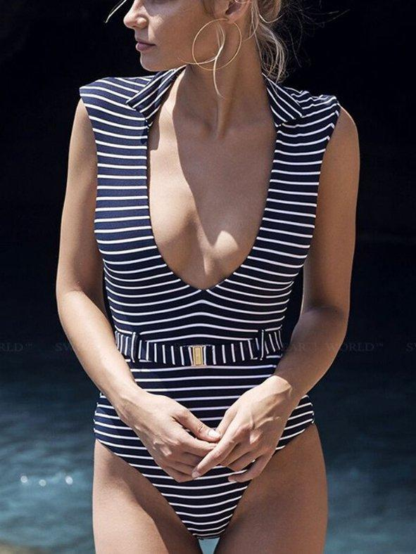 One-Pieces Striped Belt Bikini