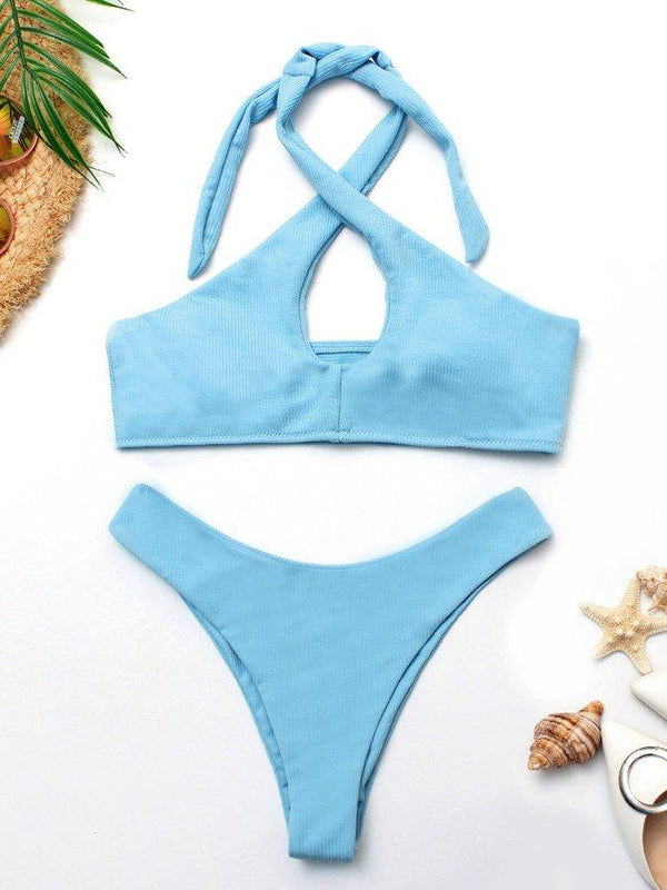 Solid Color Split High Waist Bikini