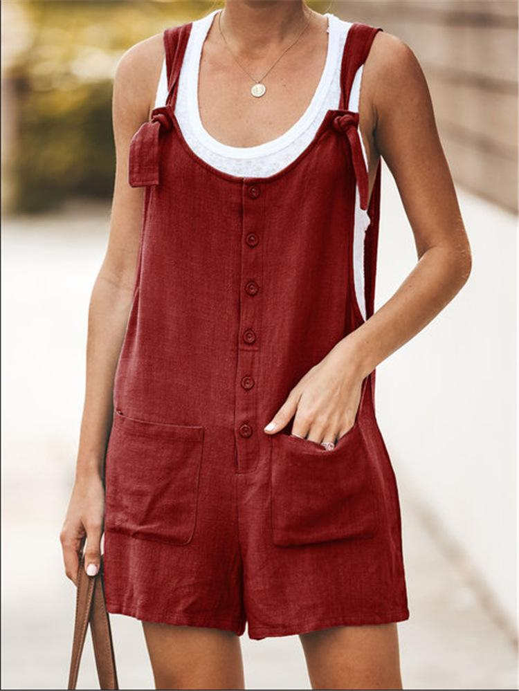 Solid Color Pocket With Cotton And Linen Jumpsuit