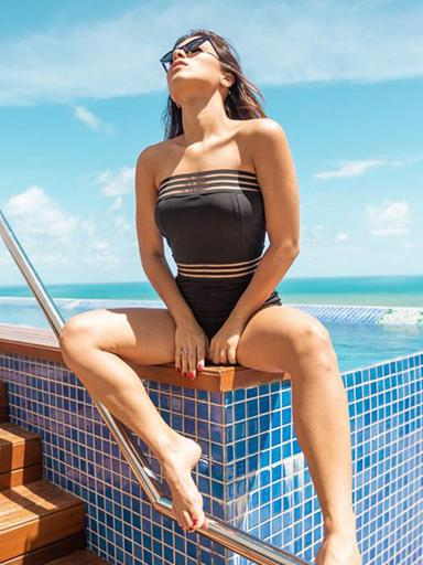 Solid Color One-Piece Tube Top Swimsuit