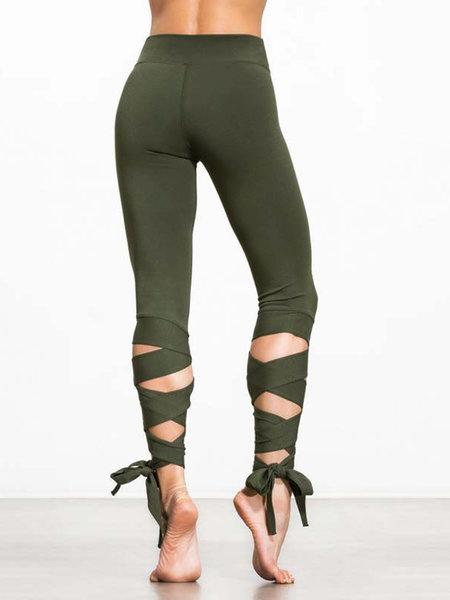 Green Lace Up Solid Sports Leggings