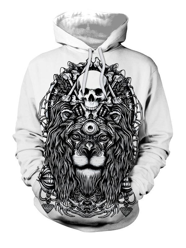 White-Black Long Sleeve Hoodie Sweatshirt