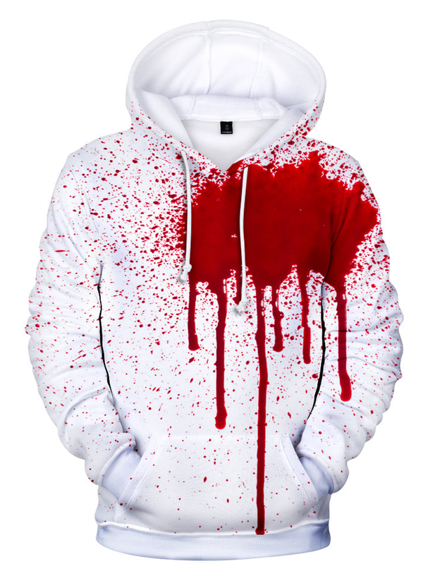White-Red Long Sleeve Cotton Hoodie Sweatshirt