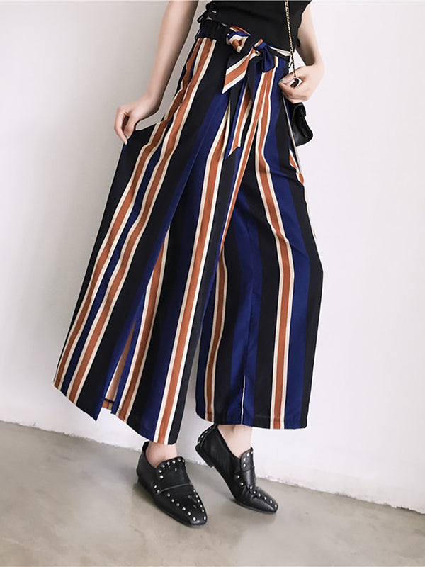 Blue Stripes Slit Crew Neck Casual Pant