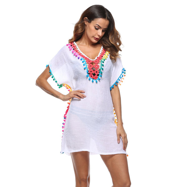 Women Sexy Colored Tassel See-Through Crochet Tunic Beach Cover Up Swimwear