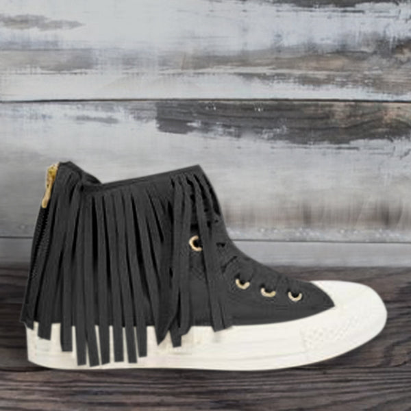 White Tassel Casual Fall Canvas Flats