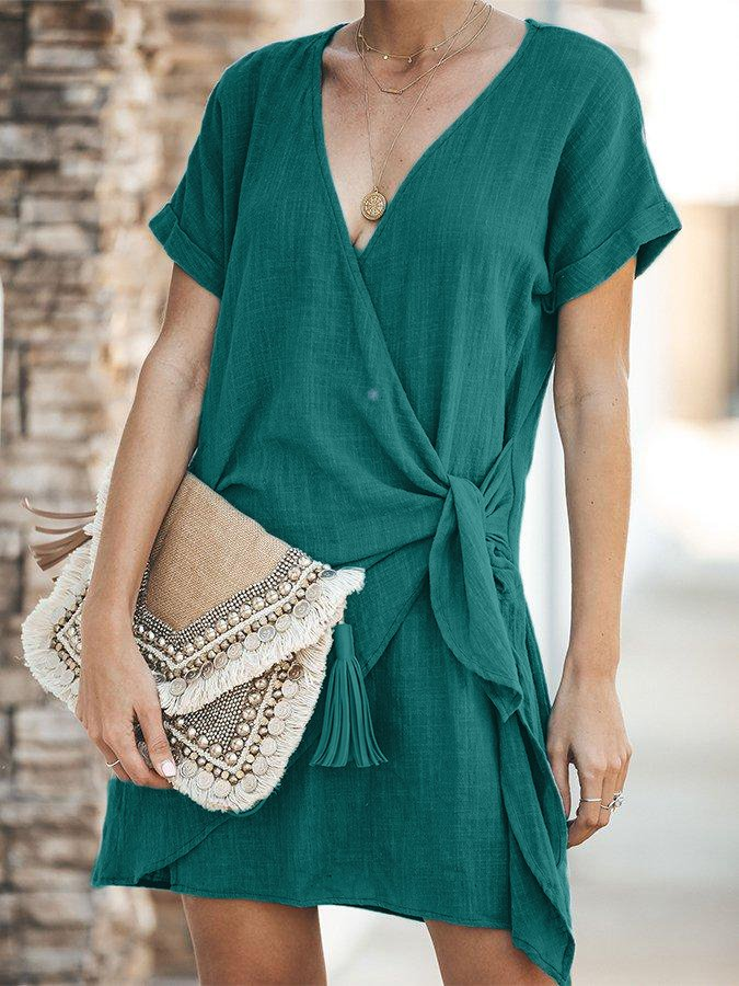 V-neck Solid Color Knotted Dress