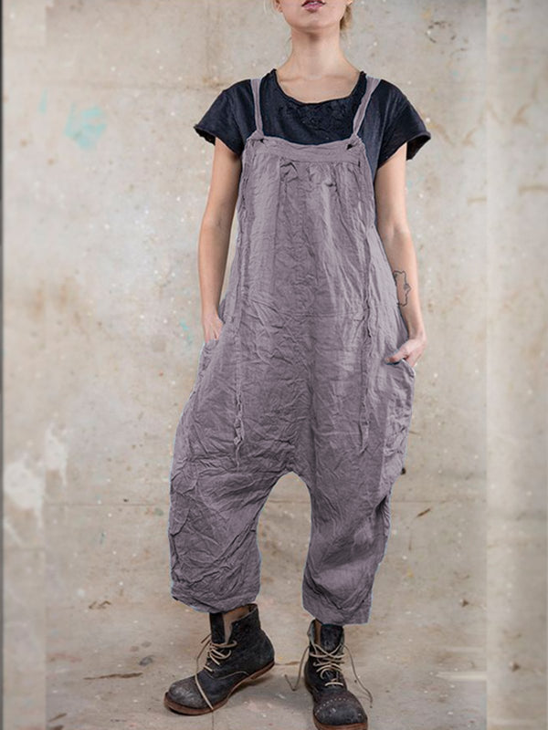 Women's Casual Solid Belt Pocket Jumpsuit