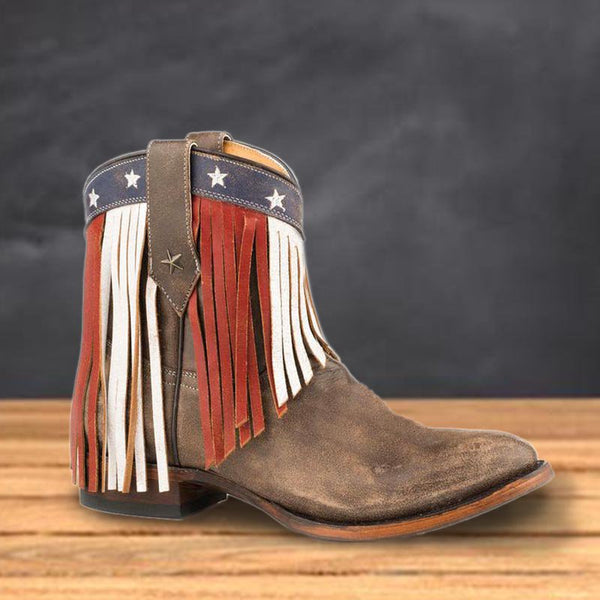 Brown Low Heel Tassel Spring Daily Boots