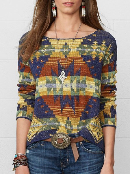 Plus Size Geometric Long Sleeve Boho Tops