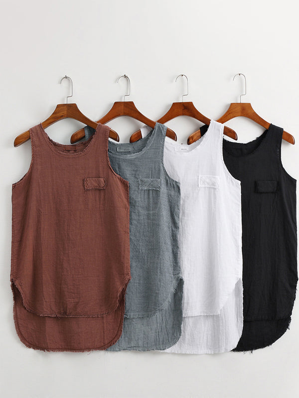 Women Round Neck Linen Casual Plain Shirts & Tops