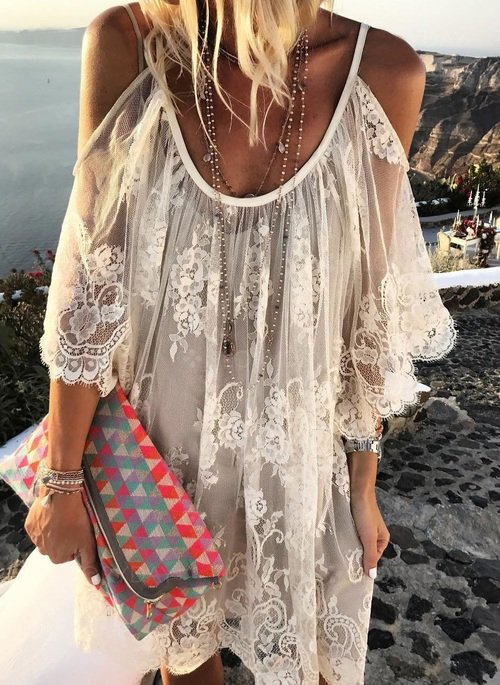 Off Shoulder Lace Embroidered Skater Shift Dresses