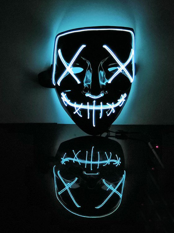 Led Mask Halloween Party Masque Masquerade Masks Neon Maske Light Glow In The Dark Mascara Horror Maska Glowing